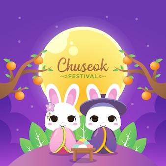 Ilustração feliz chuseok com coelho casal usar hanbok