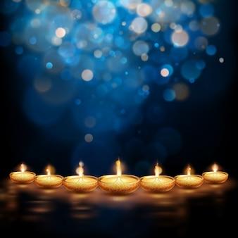 Ilustração feliz de diwali de queima diya. fundo de férias.