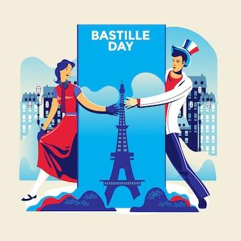 Ilustração feliz dia da bastilha flyer e cartão para o dia nacional da frança