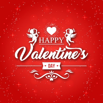 Ilustração feliz do cartão dos namorados do cupido vermelho romântico