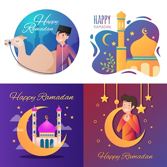 Ilustração feliz do ramadã