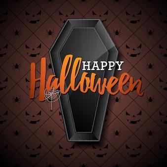 Ilustração feliz do vetor do dia das bruxas com caixão preto no fundo escuro. design de feriado com aranhas e morcegos para cartão, bandeira, cartaz, convite de festa.