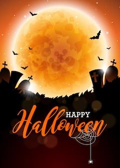 Ilustração feliz do vetor do dia das bruxas com lua e cemitério no fundo escuro. design de feriado com aranhas e morcegos para cartão, bandeira, cartaz, convite de festa.