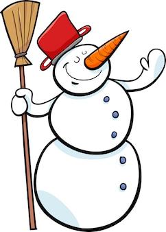 Ilustração feliz dos desenhos animados do boneco de neve