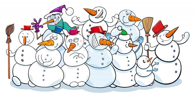Ilustração feliz dos desenhos animados do grupo dos bonecos de neve
