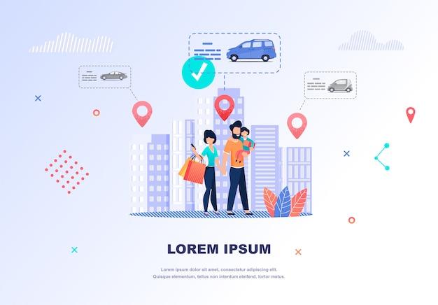Ilustração feliz família procurando carro para alugar