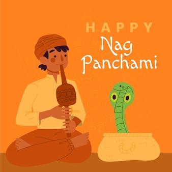 Ilustração feliz nag panchami