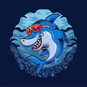 Ilustração feliz tubarão