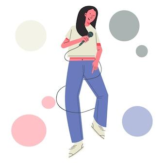 Ilustração feminina de karaokê