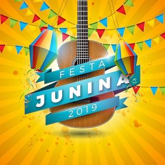 Ilustração festa junina com guitarra acústica