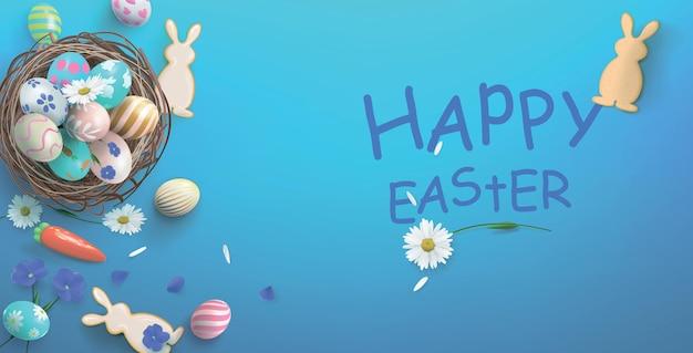Ilustração festiva com cesta, ovos e biscoitos em forma de uma lebre, feliz páscoa.