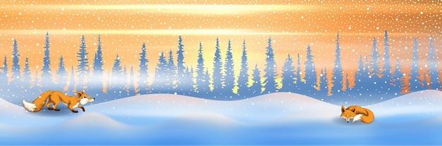 Ilustração festiva de ano novo, noite de inverno, duas raposas