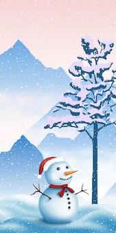 Ilustração festiva de ano novo, paisagem montanhosa de inverno com boneco de neve, banner vertical
