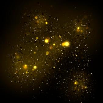 Ilustração festiva de partículas mágicas luminosas douradas