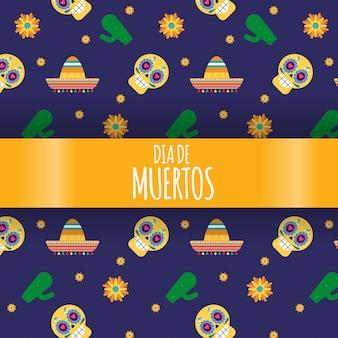 Ilustração festiva mexicana de dia de los muertos