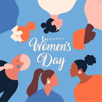Ilustração festiva moderna para celebração de 8 de março. dia internacional da mulher.