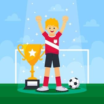 Ilustração final da liga de futebol plana