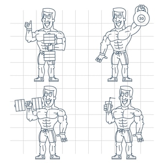 Ilustração, fisiculturista doodle segurando coquetel de halteres com kettlebell, formato eps 10