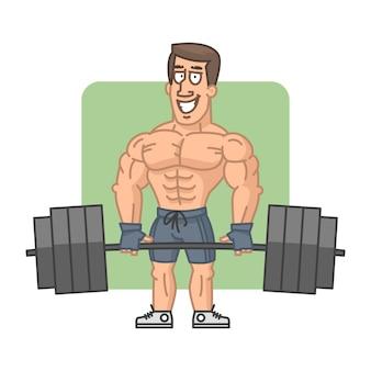Ilustração, fisiculturista levanta barra e sorrindo, formato eps 10