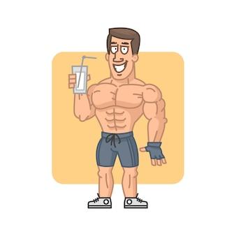 Ilustração, fisiculturista segurando proteína de coquetel de vidro, formato eps 10