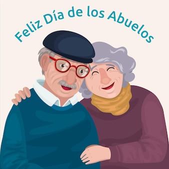 Ilustração flat dia de los abuelos