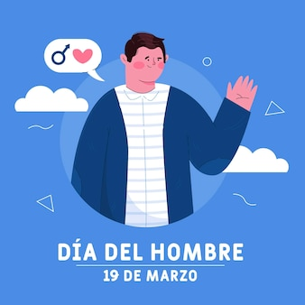 Ilustração flat dia del hombre