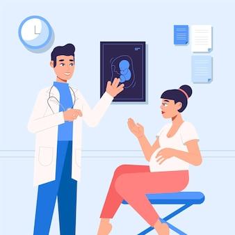 Ilustração flat dia internacional de la obstetricia y la embarazada