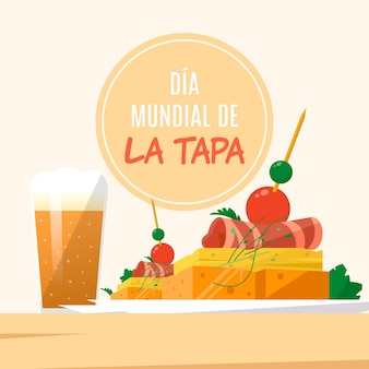 Ilustração flat dia mundial de la tapa