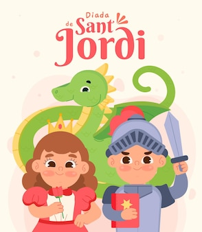 Ilustração flat diada de sant jordi com cavaleiro e princesa
