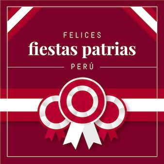 Ilustração flat fiestas patrias de peru