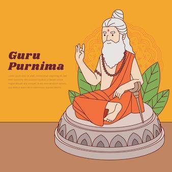 Ilustração flat guru purnima