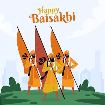 Ilustração flat happy baisakhi