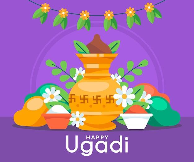 Ilustração flat happy ugadi