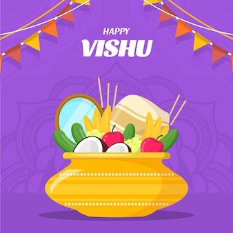 Ilustração flat happy vishu