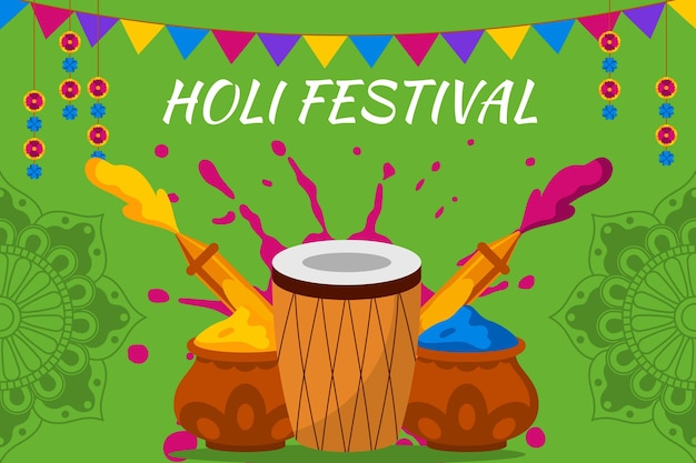 Ilustração flat holi festival