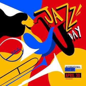 Ilustração flat international jazz day