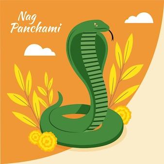 Ilustração flat nag panchami