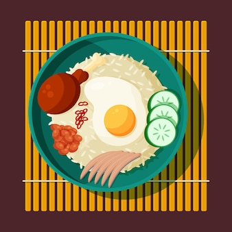 Ilustração flat nasi lemak