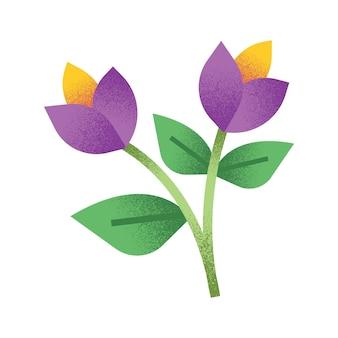 Ilustração floral abstrata com haste e folha