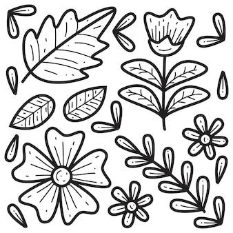 Ilustração floral de doodle desenhado à mão