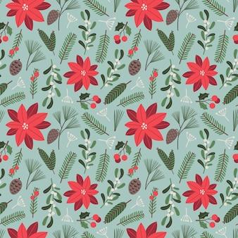 Ilustração floral de vetor de padrão sem emenda de natal com elementos tradicionais de férias