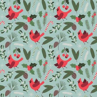Ilustração floral de vetor de padrão sem emenda de natal com símbolos tradicionais de férias