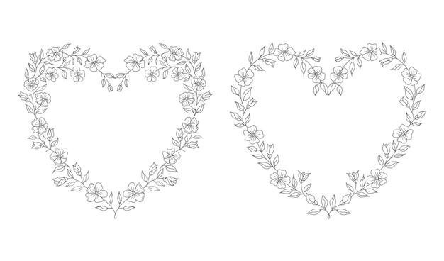 Ilustração floral do coração do casamento