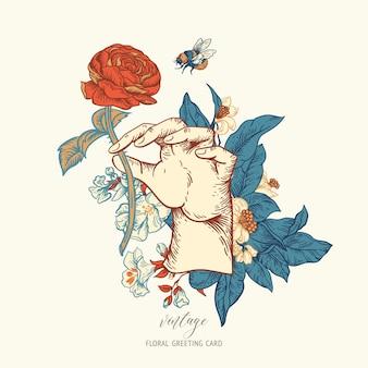 Ilustração floral do vetor vintage com mão de mulher. cartão de flores botânicas rosa. cartão de felicitações da regência, fundo estilo barroco desenhado à mão