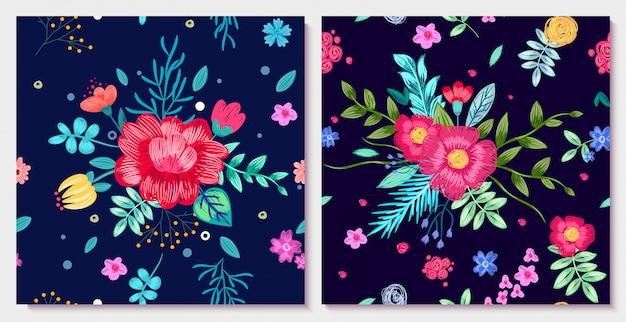 Ilustração floral ornamental com flores coloridas com folhas