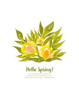 Ilustração floral vetor com tulipas amarelas e folhas