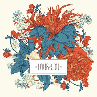 Ilustração floral vintage suave em vetor. flores botânicas. cartão de felicitações da regência, fundo estilo barroco desenhado à mão
