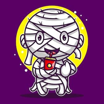 Ilustração fofa bebendo ícone do personagem mumi