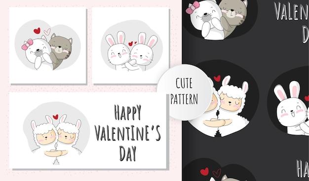 Ilustração fofa casal animais feliz dia dos namorados