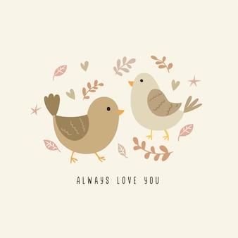 Ilustração fofa casal pássaro com ilustração floral